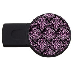 Damask1 Black Marble & Pink Colored Pencil (r) Usb Flash Drive Round (4 Gb) by trendistuff
