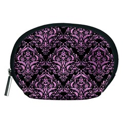 Damask1 Black Marble & Pink Colored Pencil (r) Accessory Pouches (medium)  by trendistuff