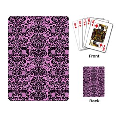 Damask2 Black Marble & Pink Colored Pencil Playing Card by trendistuff