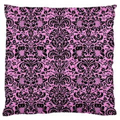 Damask2 Black Marble & Pink Colored Pencil Large Flano Cushion Case (one Side) by trendistuff