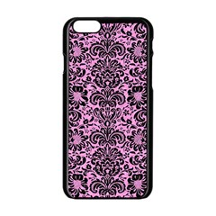 Damask2 Black Marble & Pink Colored Pencil Apple Iphone 6/6s Black Enamel Case by trendistuff