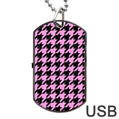 Houndstooth1 Black Marble & Pink Colored Pencil Dog Tag Usb Flash (one Side) by trendistuff