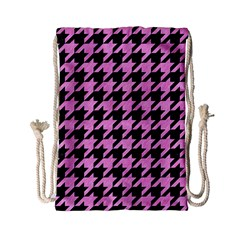 Houndstooth1 Black Marble & Pink Colored Pencil Drawstring Bag (small) by trendistuff