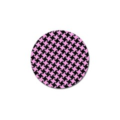 Houndstooth2 Black Marble & Pink Colored Pencil Golf Ball Marker by trendistuff