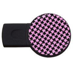 Houndstooth2 Black Marble & Pink Colored Pencil Usb Flash Drive Round (2 Gb) by trendistuff