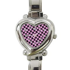 Houndstooth2 Black Marble & Pink Colored Pencil Heart Italian Charm Watch by trendistuff