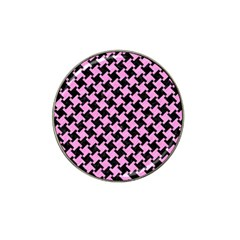 Houndstooth2 Black Marble & Pink Colored Pencil Hat Clip Ball Marker (4 Pack) by trendistuff