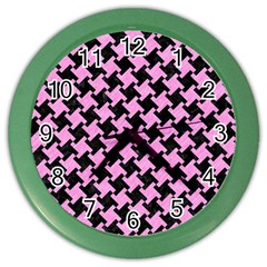 Houndstooth2 Black Marble & Pink Colored Pencil Color Wall Clocks by trendistuff
