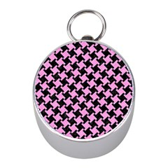 Houndstooth2 Black Marble & Pink Colored Pencil Mini Silver Compasses by trendistuff