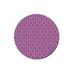 Hexagon1 Black Marble & Pink Colored Pencil Rubber Coaster (round)  by trendistuff