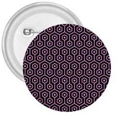 Hexagon1 Black Marble & Pink Colored Pencil (r) 3  Buttons by trendistuff