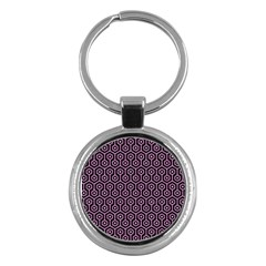 Hexagon1 Black Marble & Pink Colored Pencil (r) Key Chains (round)  by trendistuff