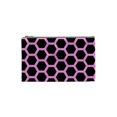 Hexagon2 Black Marble & Pink Colored Pencil (r) Cosmetic Bag (small)  by trendistuff