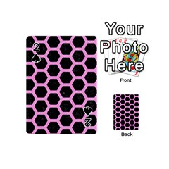 Hexagon2 Black Marble & Pink Colored Pencil (r) Playing Cards 54 (mini)  by trendistuff