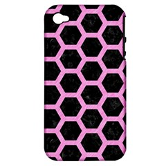 Hexagon2 Black Marble & Pink Colored Pencil (r) Apple Iphone 4/4s Hardshell Case (pc+silicone) by trendistuff
