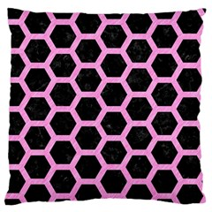 Hexagon2 Black Marble & Pink Colored Pencil (r) Standard Flano Cushion Case (two Sides)