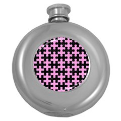 Puzzle1 Black Marble & Pink Colored Pencil Round Hip Flask (5 Oz) by trendistuff