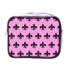 Royal1 Black Marble & Pink Colored Pencil (r) Mini Toiletries Bags by trendistuff