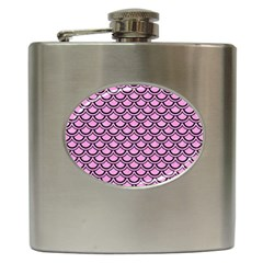 Scales2 Black Marble & Pink Colored Pencil Hip Flask (6 Oz) by trendistuff
