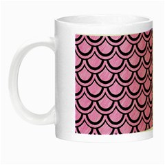 Scales2 Black Marble & Pink Colored Pencil Night Luminous Mugs by trendistuff