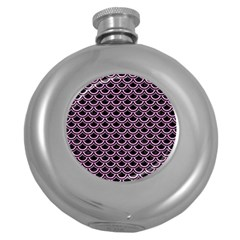 Scales2 Black Marble & Pink Colored Pencil (r) Round Hip Flask (5 Oz) by trendistuff