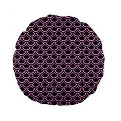 Scales2 Black Marble & Pink Colored Pencil (r) Standard 15  Premium Flano Round Cushions by trendistuff