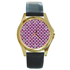Scales3 Black Marble & Pink Colored Pencil Round Gold Metal Watch by trendistuff