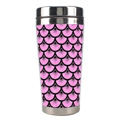 Scales3 Black Marble & Pink Colored Pencil Stainless Steel Travel Tumblers by trendistuff