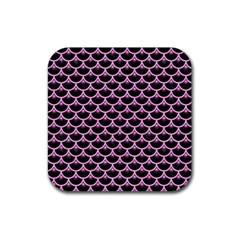 Scales3 Black Marble & Pink Colored Pencil (r) Rubber Square Coaster (4 Pack)  by trendistuff