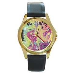 Abstract Marble 8 Round Gold Metal Watch by tarastyle