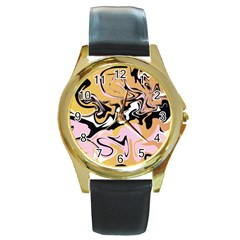 Abstract Marble 9 Round Gold Metal Watch by tarastyle