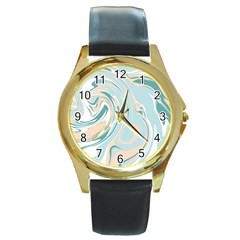 Abstract Marble 11 Round Gold Metal Watch by tarastyle