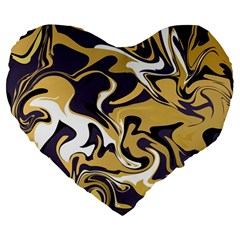 Abstract Marble 17 Large 19  Premium Flano Heart Shape Cushions by tarastyle