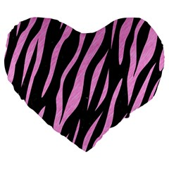 Skin3 Black Marble & Pink Colored Pencil (r) Large 19  Premium Flano Heart Shape Cushions by trendistuff