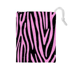 Skin4 Black Marble & Pink Colored Pencil Drawstring Pouches (large)  by trendistuff