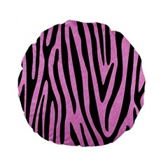 Skin4 Black Marble & Pink Colored Pencil (r) Standard 15  Premium Flano Round Cushions