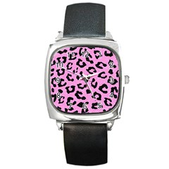 Skin5 Black Marble & Pink Colored Pencil (r) Square Metal Watch by trendistuff