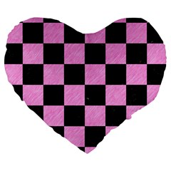 Square1 Black Marble & Pink Colored Pencil Large 19  Premium Heart Shape Cushions by trendistuff