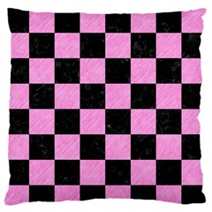 Square1 Black Marble & Pink Colored Pencil Standard Flano Cushion Case (one Side) by trendistuff