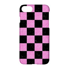 Square1 Black Marble & Pink Colored Pencil Apple Iphone 7 Hardshell Case by trendistuff
