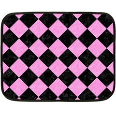 Square2 Black Marble & Pink Colored Pencil Double Sided Fleece Blanket (mini)  by trendistuff
