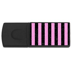 Stripes1 Black Marble & Pink Colored Pencil Rectangular Usb Flash Drive by trendistuff