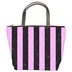 Stripes1 Black Marble & Pink Colored Pencil Bucket Bags by trendistuff