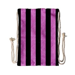Stripes1 Black Marble & Pink Colored Pencil Drawstring Bag (small) by trendistuff