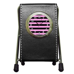 Stripes2 Black Marble & Pink Colored Pencil Pen Holder Desk Clocks by trendistuff