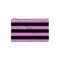 Stripes2 Black Marble & Pink Colored Pencil Cosmetic Bag (small)  by trendistuff
