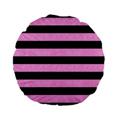 Stripes2 Black Marble & Pink Colored Pencil Standard 15  Premium Flano Round Cushions by trendistuff