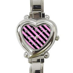 Stripes3 Black Marble & Pink Colored Pencil Heart Italian Charm Watch by trendistuff