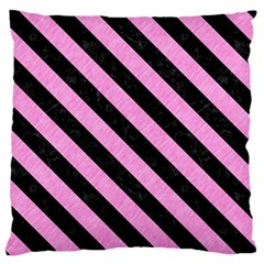 Stripes3 Black Marble & Pink Colored Pencil Large Flano Cushion Case (two Sides)