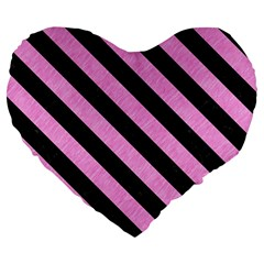 Stripes3 Black Marble & Pink Colored Pencil Large 19  Premium Flano Heart Shape Cushions by trendistuff